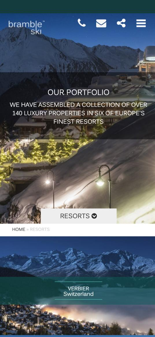 Website design for Luxury Ski Brand Bramble Ski